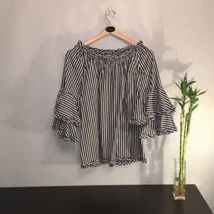 Ali Miles 3/4 Sleeve High-Low Striped Top